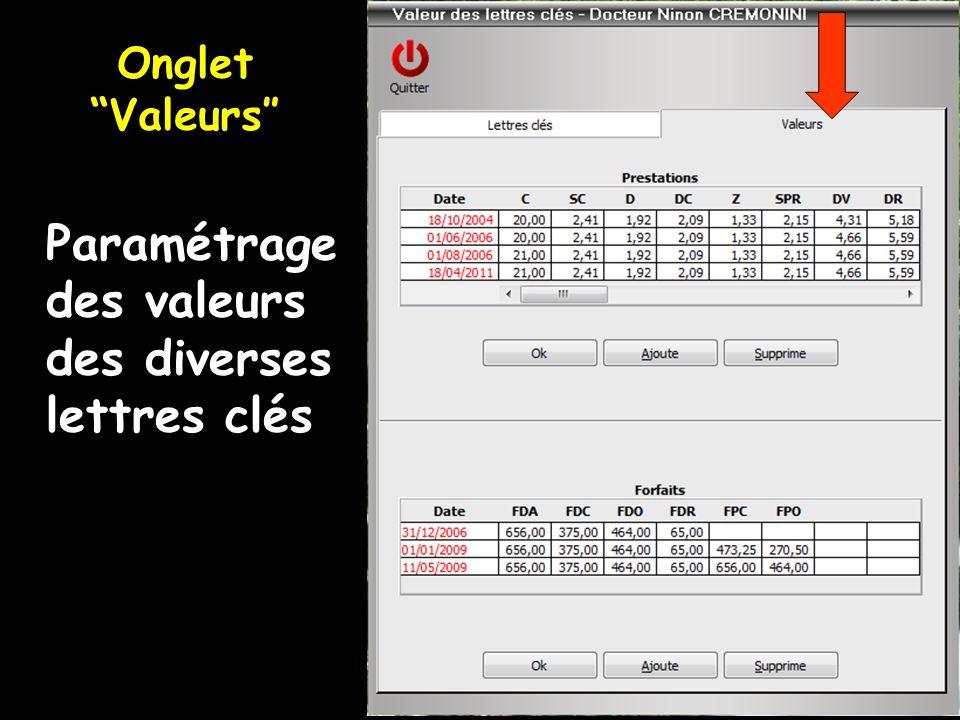 Paramétrage des valeurs des diverses lettres clés Onglet Valeurs