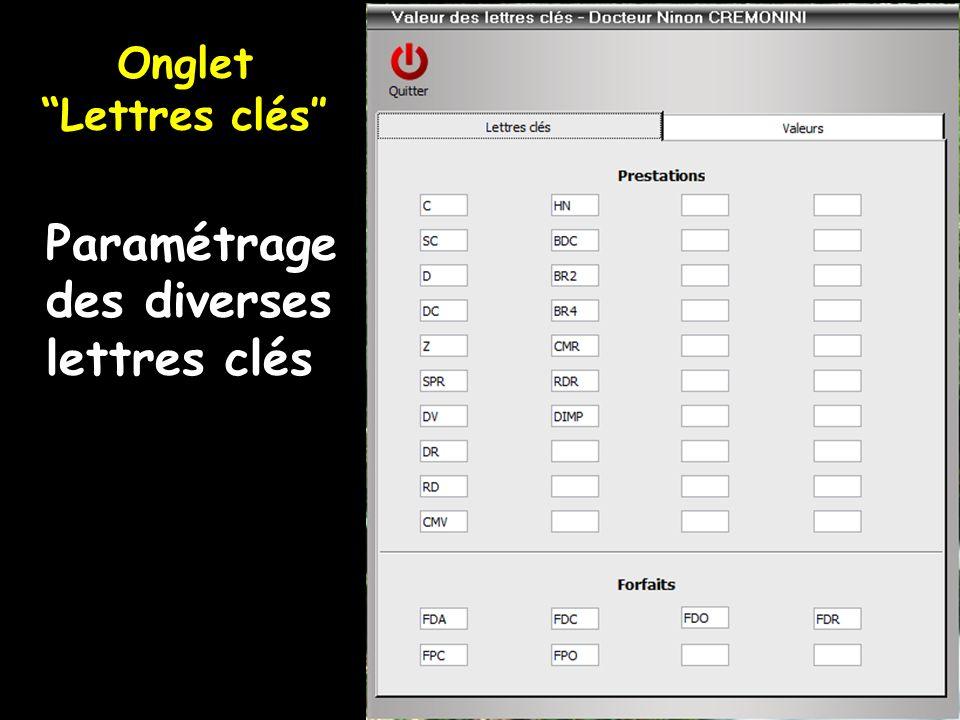 Paramétrage des diverses lettres clés Onglet Lettres clés