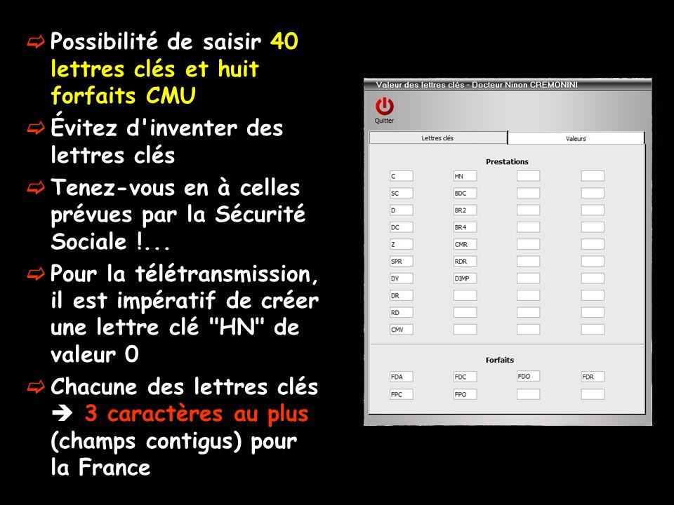 Attention Les cotations françaises de la Sécurité Sociale ne peuvent avoir que 3 caractères La possibilité de créer 4 caractères pour une lettre clé na été réalisée que pour permettre de créer la lettre clé monégasque pour les implants DIMP apparue en 2011