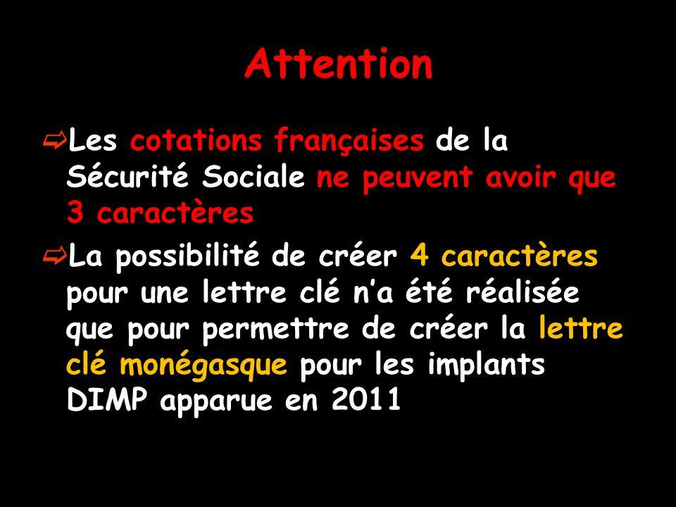 Attention Les cotations françaises de la Sécurité Sociale ne peuvent avoir que 3 caractères La possibilité de créer 4 caractères pour une lettre clé n