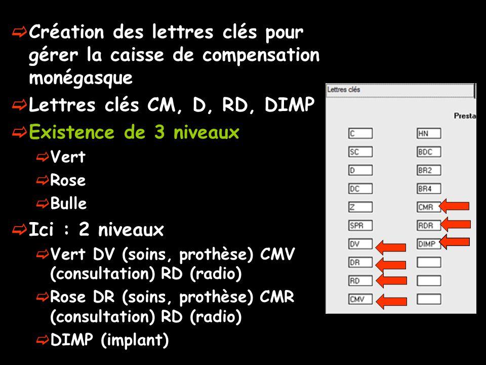 Création des lettres clés pour gérer la caisse de compensation monégasque Lettres clés CM, D, RD, DIMP Existence de 3 niveaux Vert Rose Bulle Ici : 2