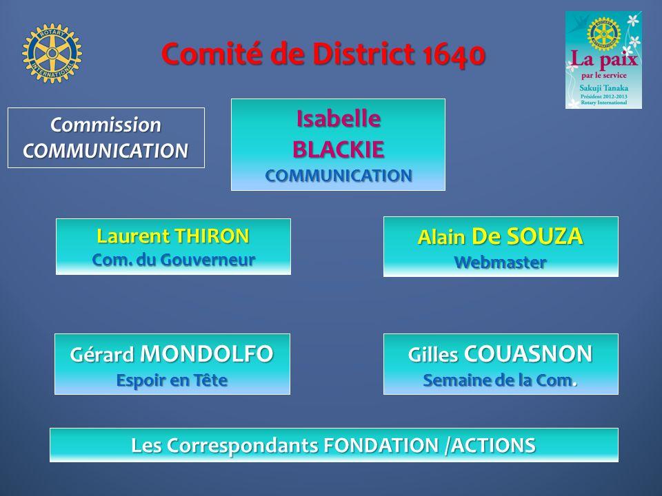 Comité de District 1640 Alain De SOUZA Webmaster IsabelleBLACKIECOMMUNICATION Gilles COUASNON Semaine de la Com. CommissionCOMMUNICATION Gérard MONDOL