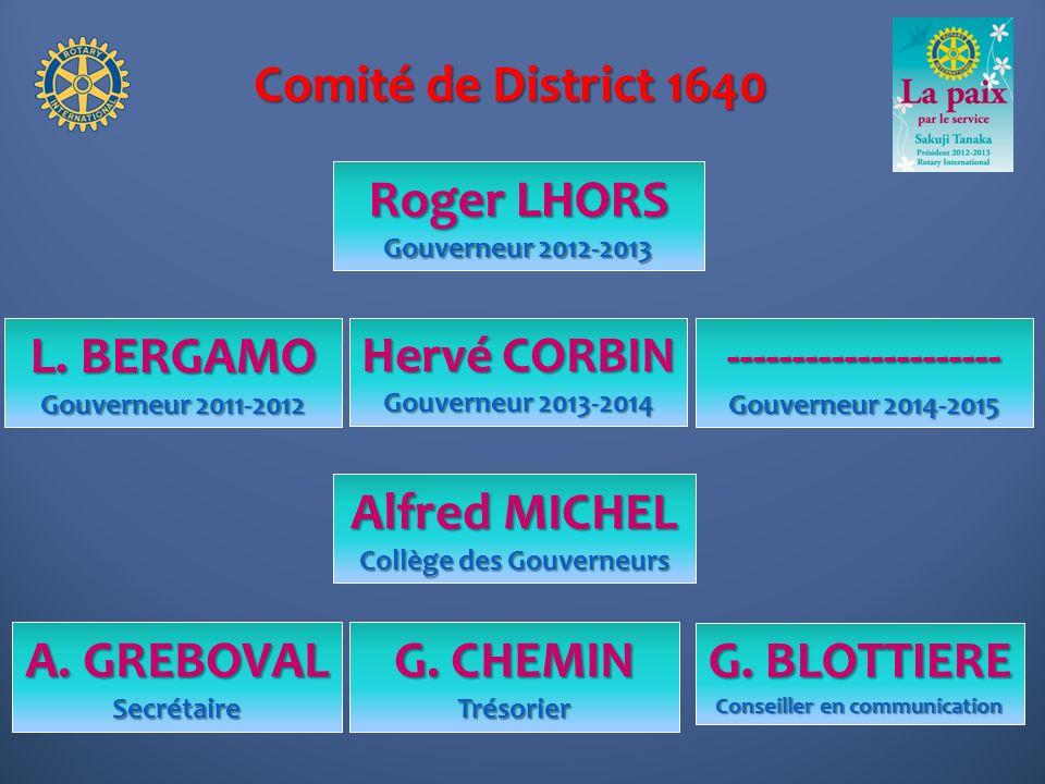 Comité de District 1640 Roger LHORS Gouverneur 2012-2013 Hervé CORBIN Gouverneur 2013-2014 L. BERGAMO Gouverneur 2011-2012 --------------------- Gouve