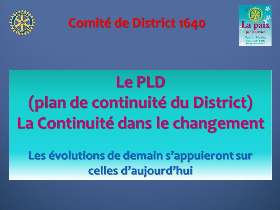 Comité de District 1640 Le PLD (plan de continuité du District) La Continuité dans le changement Les évolutions de demain sappuieront sur celles daujo