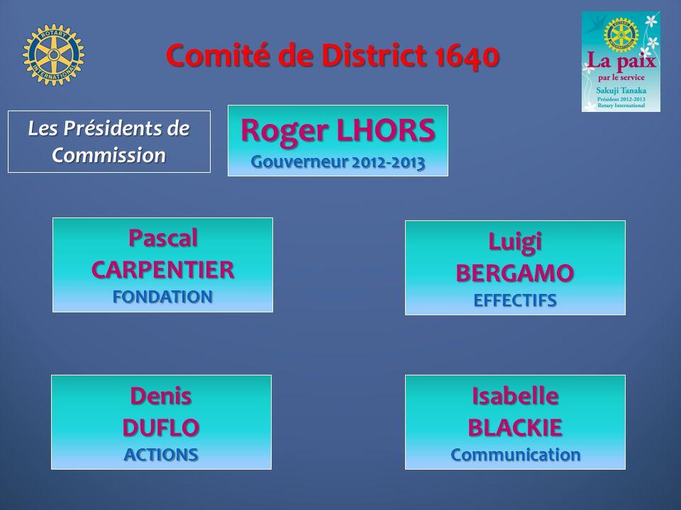Comité de District 1640 Roger LHORS Gouverneur 2012-2013 LuigiBERGAMOEFFECTIFS Pascal CARPENTIER FONDATION IsabelleBLACKIECommunication Les Présidents