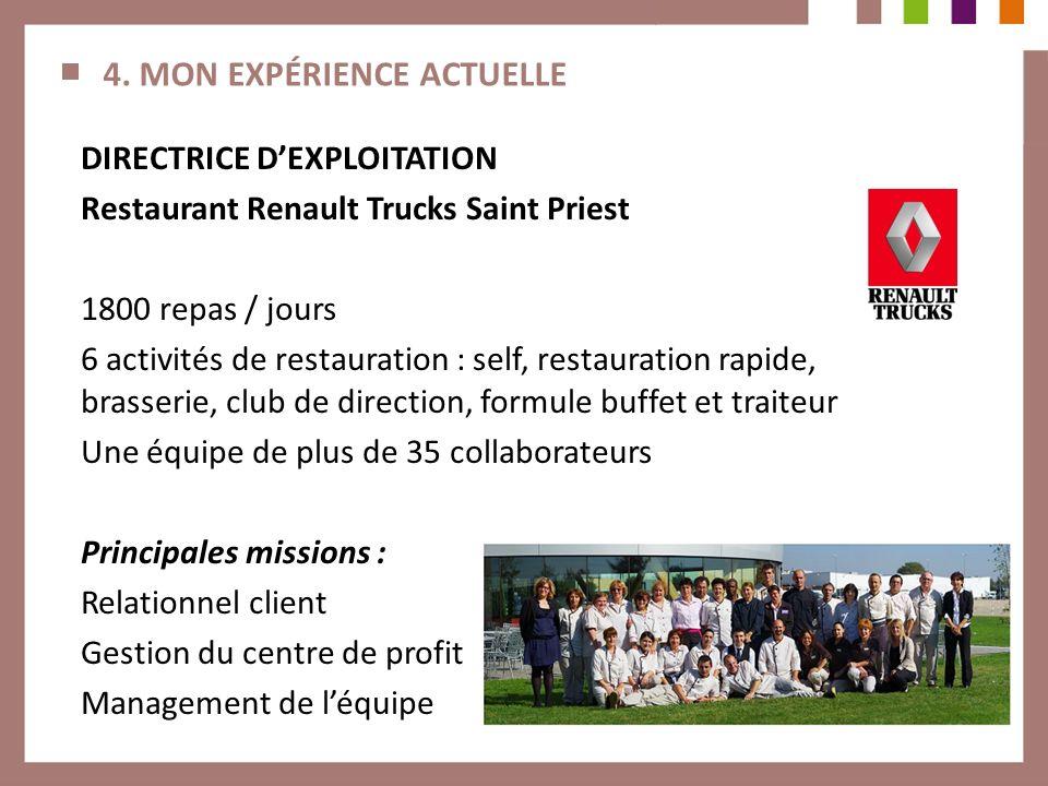 4. MON EXPÉRIENCE ACTUELLE DIRECTRICE DEXPLOITATION Restaurant Renault Trucks Saint Priest 1800 repas / jours 6 activités de restauration : self, rest
