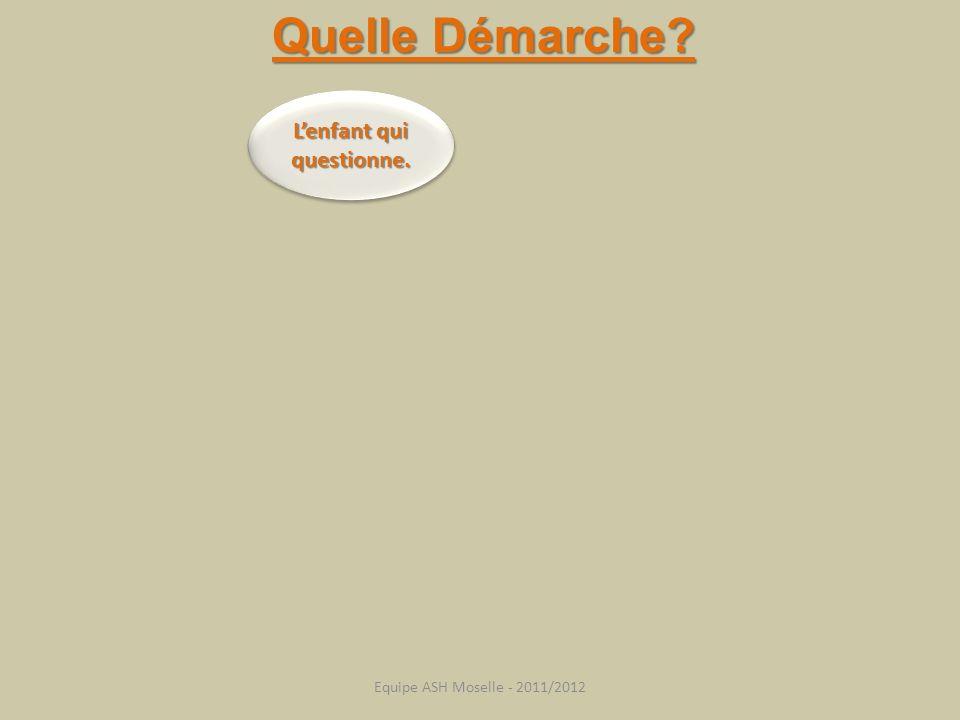 Lenfant qui questionne. Quelle Démarche? Equipe ASH Moselle - 2011/2012
