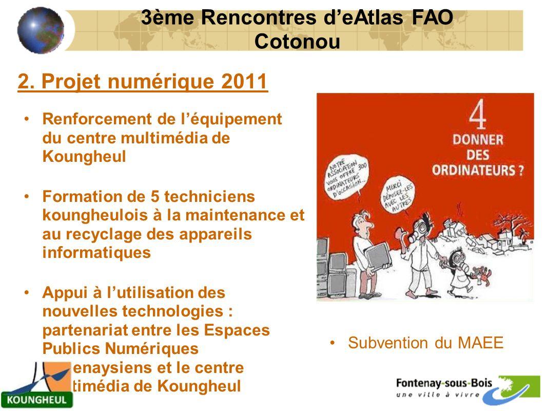 2. Projet numérique 2011 Renforcement de léquipement du centre multimédia de Koungheul Formation de 5 techniciens koungheulois à la maintenance et au