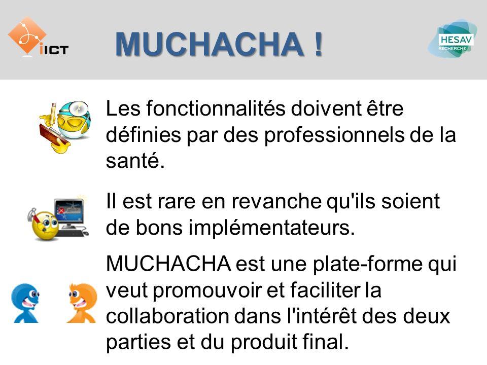 MUCHACHA… … c est une spécification, qui permet à un professionnel de la santé de définir une fonctionnalité de telle manière qu elle soit compréhensible à un informaticien.