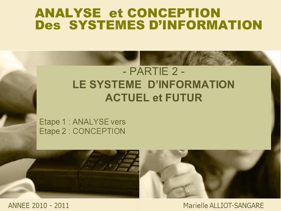 ANALYSE et CONCEPTION Des SYSTEMES DINFORMATION - PARTIE 2 - LE SYSTEME DINFORMATION ACTUEL et FUTUR Etape 1 : ANALYSE vers Etape 2 : CONCEPTION Marie
