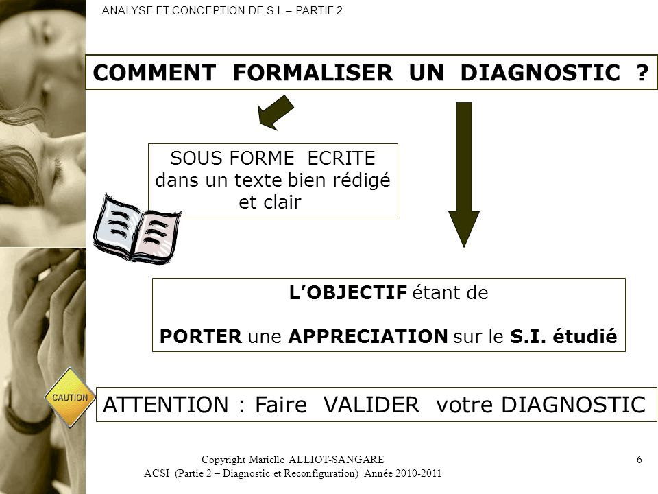 Copyright Marielle ALLIOT-SANGARE ACSI (Partie 2 – Diagnostic et Reconfiguration) Année 2010-2011 6 COMMENT FORMALISER UN DIAGNOSTIC .