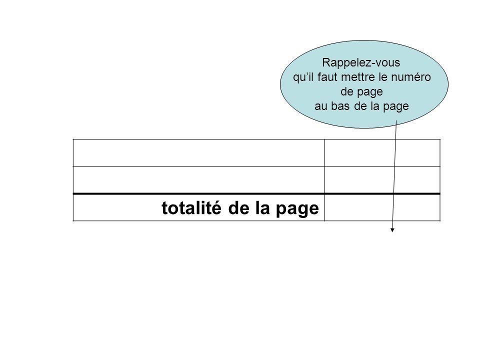 Numero de page _______1______ totalité de la page Rappelez-vous quil faut mettre le numéro de page au bas de la page