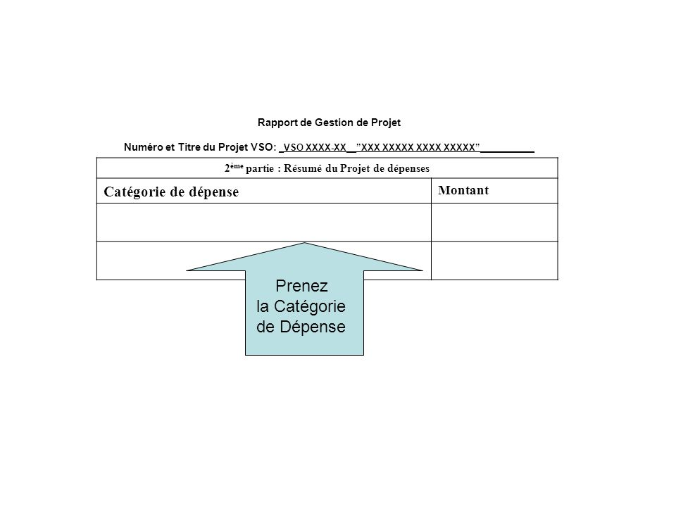 Rapport de Gestion de Projet Numéro et Titre du Projet VSO: _VSO XXXX-XX__XXX XXXXX XXXX XXXXX___________ 2 ème partie : Résumé du Projet de dépenses Catégorie de dépense Montant Prenez la Catégorie de Dépense