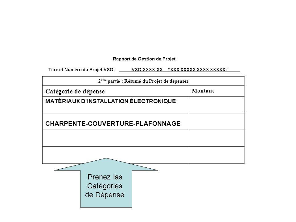 Rapport de Gestion de Projet Titre et Numéro du Projet VSO: _____VSO XXXX-XX__XXX XXXXX XXXX XXXXX_____ 2 ème partie : Résumé du Projet de dépenses Ca