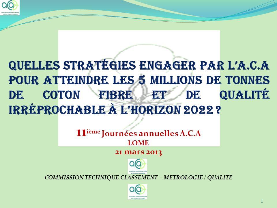 Quelles stratégies engager par la.C.A pour atteindre les 5 millions de tonnes de coton fibre et de qualité irréprochable à lhorizon 2022 ? 11 ième Jou
