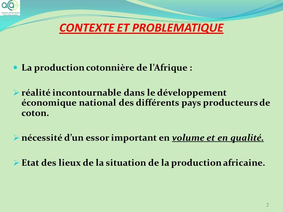 CONTEXTE ET PROBLEMATIQUE La production cotonnière de lAfrique : réalité incontournable dans le développement économique national des différents pays