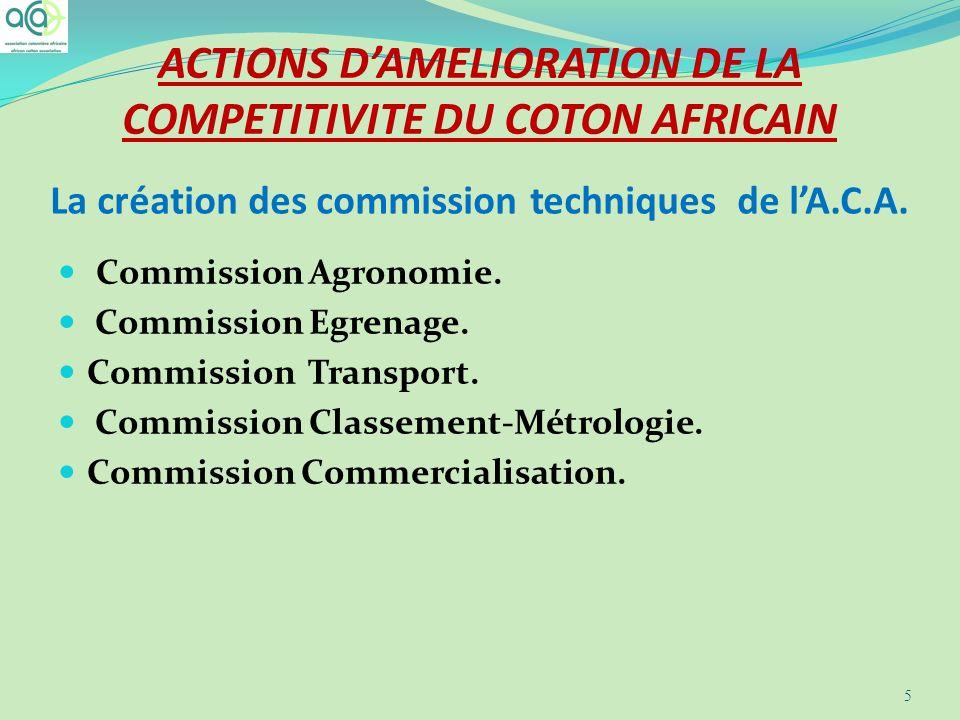 La création des commission techniques de lA.C.A. Commission Agronomie. Commission Egrenage. Commission Transport. Commission Classement-Métrologie. Co