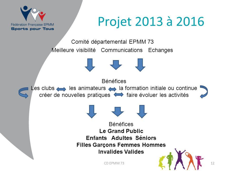 Projet 2013 à 2016 Comité départemental EPMM 73 Meilleure visibilité Communications Echanges CD EPMM 7312 Bénéfices Les clubs les animateurs la format