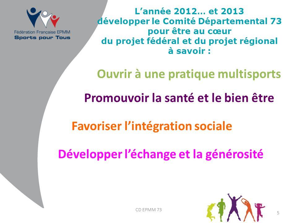Lannée 2012… et 2013 développer le Comité Départemental 73 pour être au cœur du projet fédéral et du projet régional à savoir : 5 Promouvoir la santé