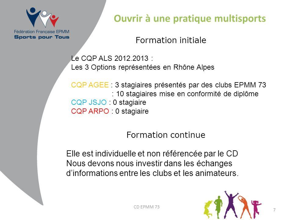 7 Le CQP ALS 2012.2013 : Les 3 Options représentées en Rhône Alpes CQP AGEE : 3 stagiaires présentés par des clubs EPMM 73 : 10 stagiaires mise en con