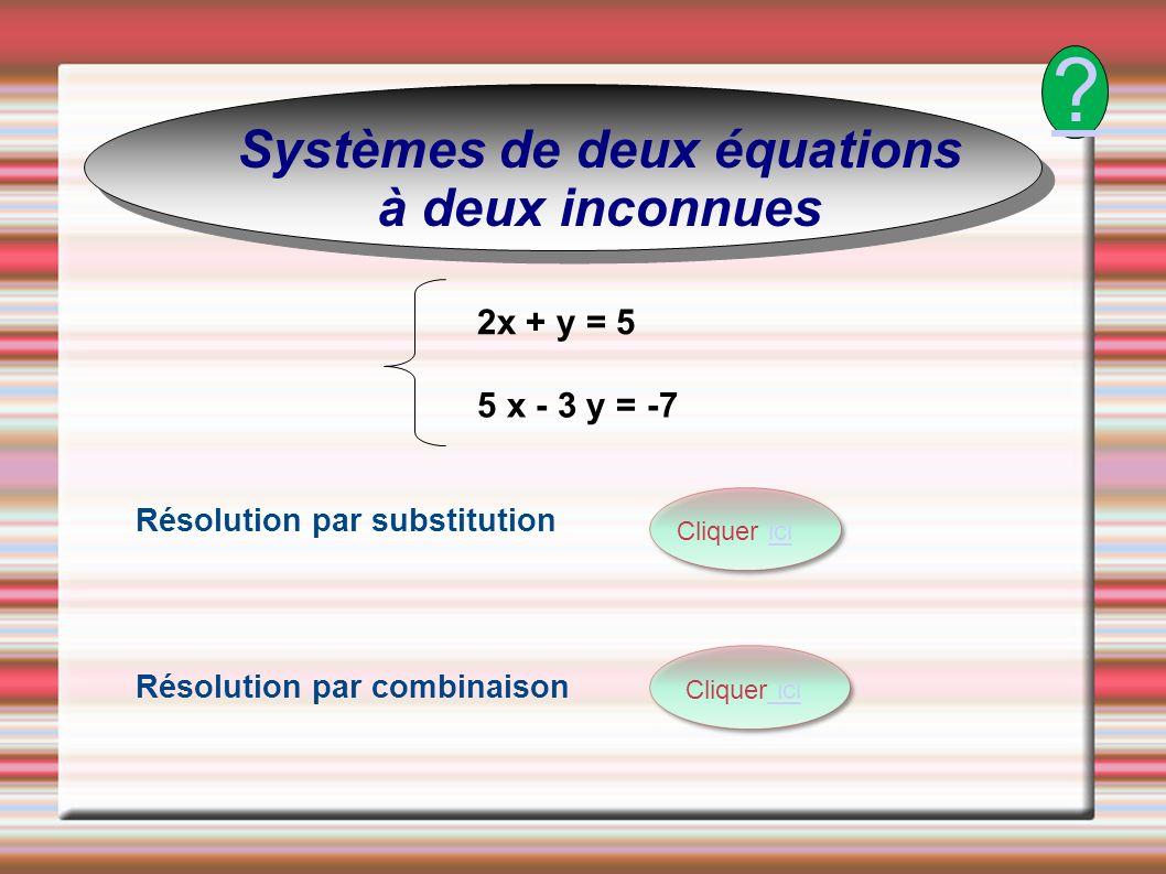 Systèmes de deux équations à deux inconnues 2x + y = 5 5 x - 3 y = -7 Résolution par combinaison Résolution par substitution Cliquer iciici Cliquer ic