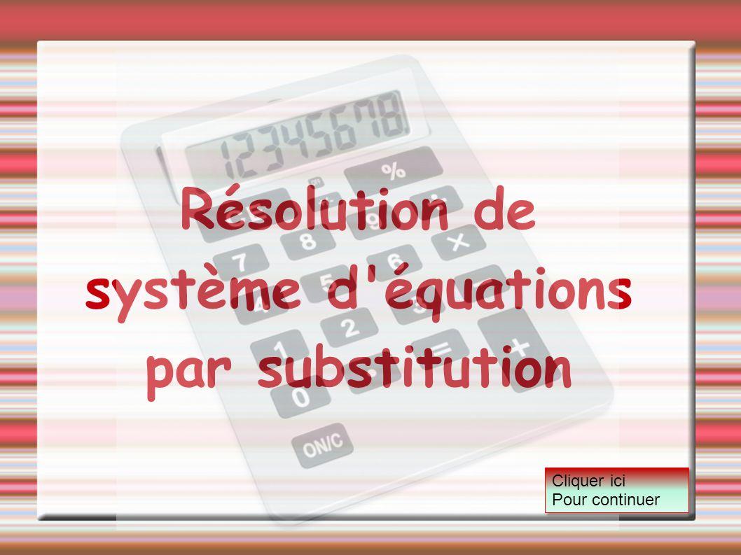 Résolution de système d'équations par substitution Cliquer ici Pour continuer Cliquer ici Pour continuer