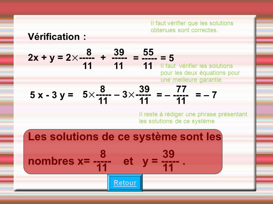 Il faut vérifier que les solutions obtenues sont correctes. Vérification : 2x + y = 2×----- + ----- 8 11 39 11 = ----- 55 11 = 5 Il faut vérifier les