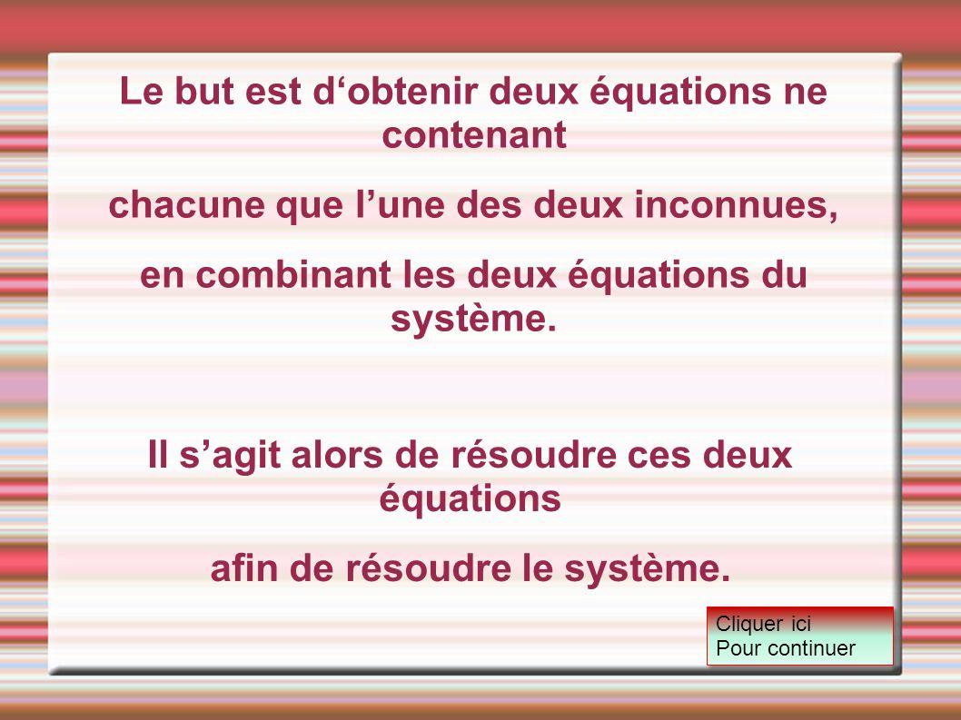 Le but est dobtenir deux équations ne contenant chacune que lune des deux inconnues, en combinant les deux équations du système. Il sagit alors de rés