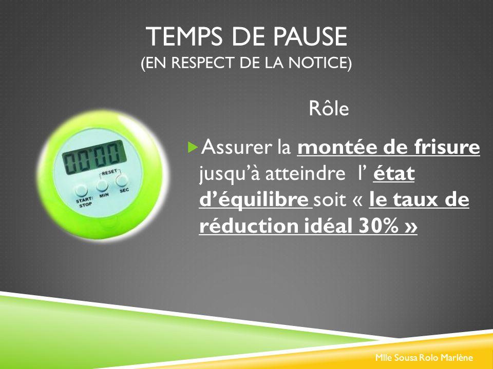 TEMPS DE PAUSE (EN RESPECT DE LA NOTICE) Assurer la montée de frisure jusquà atteindre l état déquilibre soit « le taux de réduction idéal 30% » Rôle Mlle Sousa Rolo Marlène