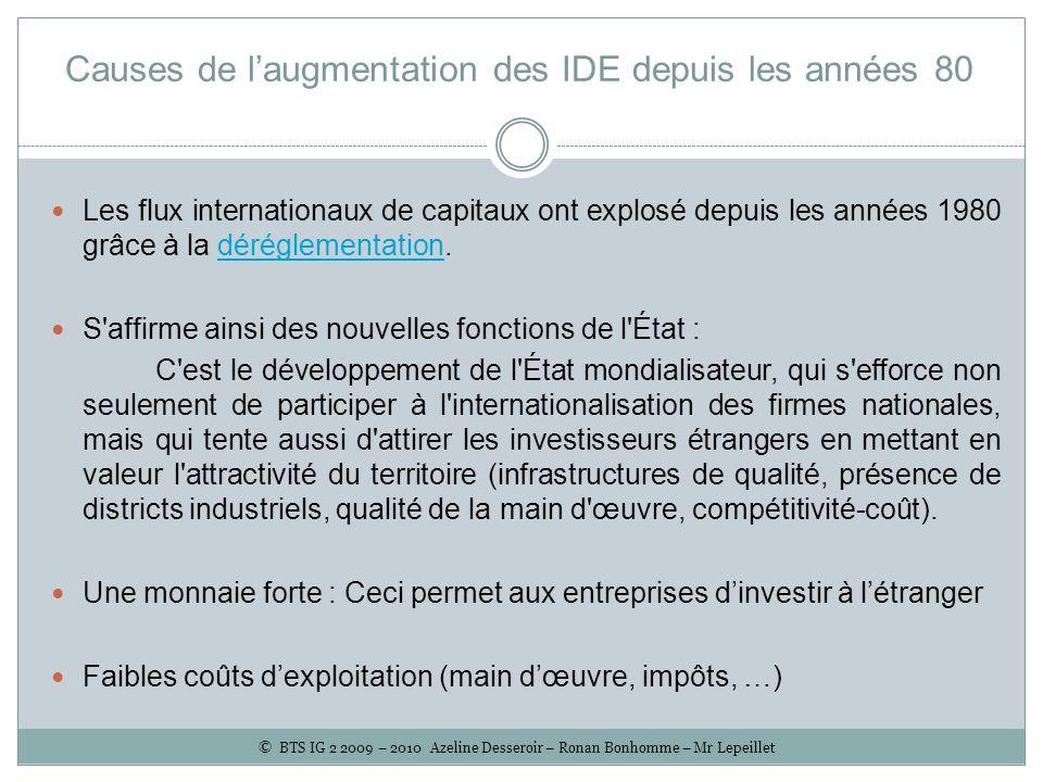 Causes de laugmentation des IDE depuis les années 80 Les flux internationaux de capitaux ont explosé depuis les années 1980 grâce à la déréglementatio
