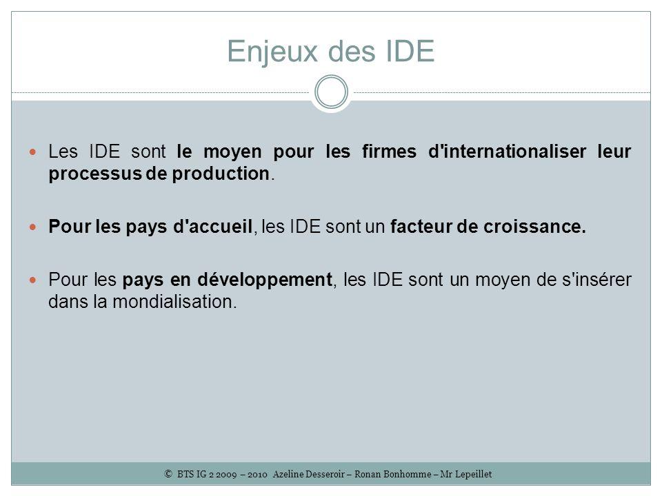 Enjeux des IDE Les IDE sont le moyen pour les firmes d'internationaliser leur processus de production. Pour les pays d'accueil, les IDE sont un facteu