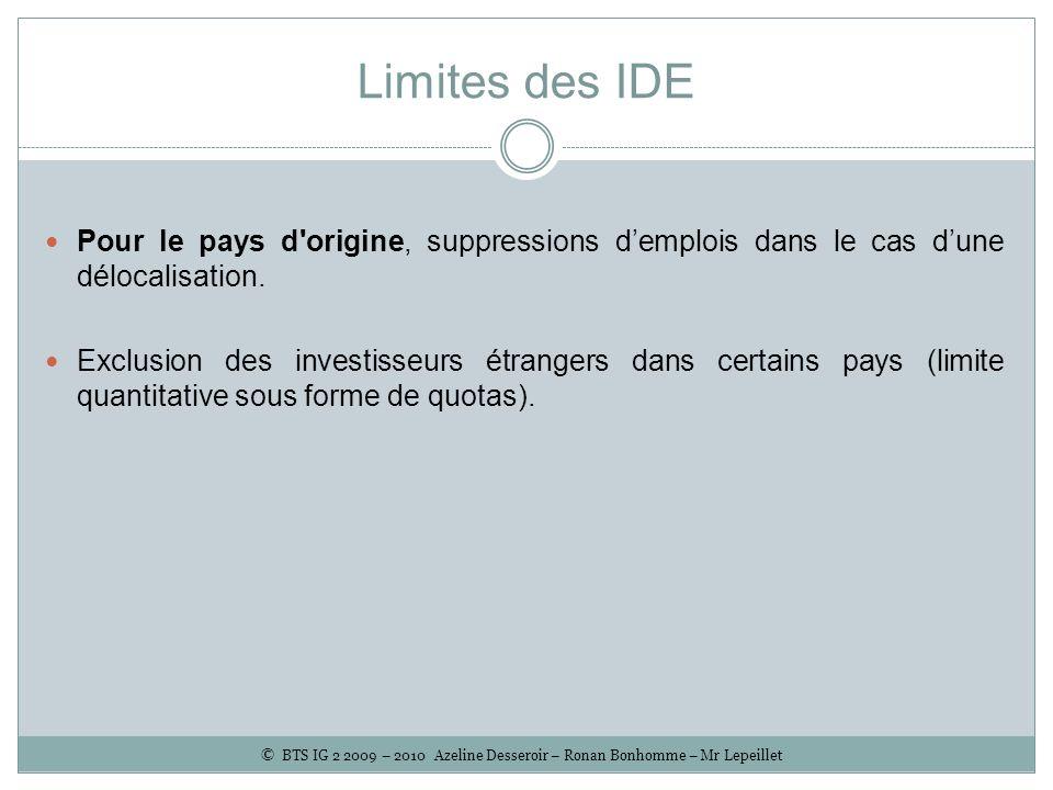 Limites des IDE Pour le pays d'origine, suppressions demplois dans le cas dune délocalisation. Exclusion des investisseurs étrangers dans certains pay