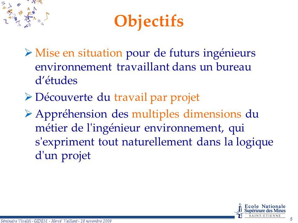 5 Séminaire Vivaldi - GIDEM - Hervé Vaillant - 18 novembre 2009 Objectifs Mise en situation pour de futurs ingénieurs environnement travaillant dans u