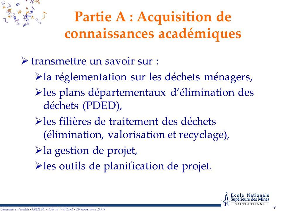 9 Partie A : Acquisition de connaissances académiques transmettre un savoir sur : la réglementation sur les déchets ménagers, les plans départementaux délimination des déchets (PDED), les filières de traitement des déchets (élimination, valorisation et recyclage), la gestion de projet, les outils de planification de projet.