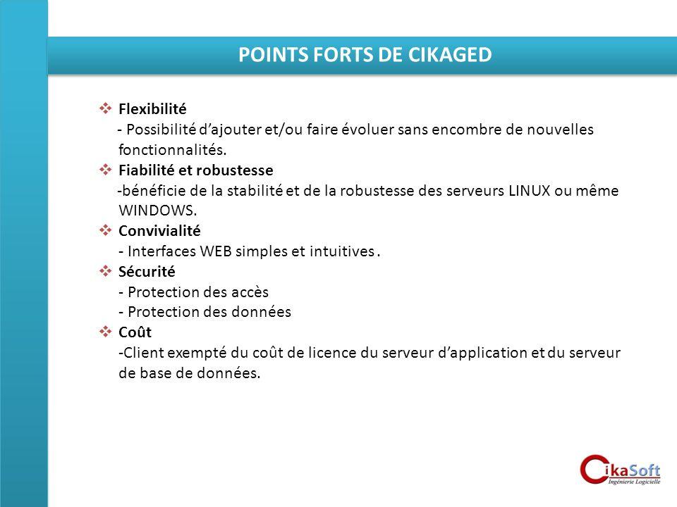 POINTS FORTS DE CIKAGED Flexibilité - Possibilité dajouter et/ou faire évoluer sans encombre de nouvelles fonctionnalités. Fiabilité et robustesse -bé