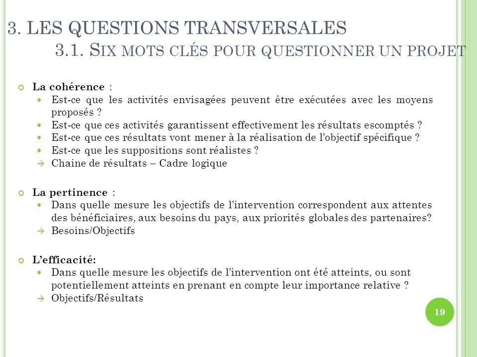 3. LES QUESTIONS TRANSVERSALES 3.1. S IX MOTS CLÉS POUR QUESTIONNER UN PROJET La cohérence : Est-ce que les activités envisagées peuvent être exécutée