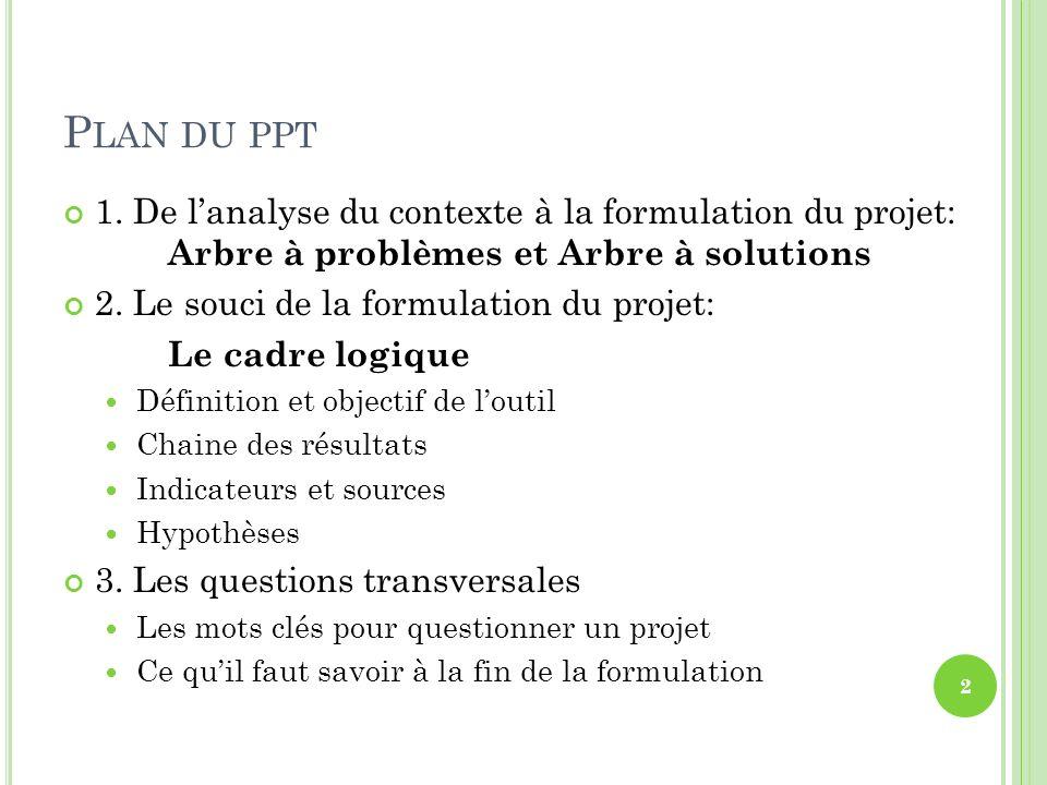 P LAN DU PPT 1. De lanalyse du contexte à la formulation du projet: Arbre à problèmes et Arbre à solutions 2. Le souci de la formulation du projet: Le