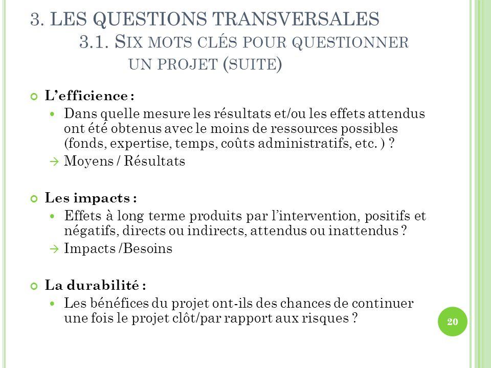 3. LES QUESTIONS TRANSVERSALES 3.1. S IX MOTS CLÉS POUR QUESTIONNER UN PROJET ( SUITE ) Lefficience : Dans quelle mesure les résultats et/ou les effet