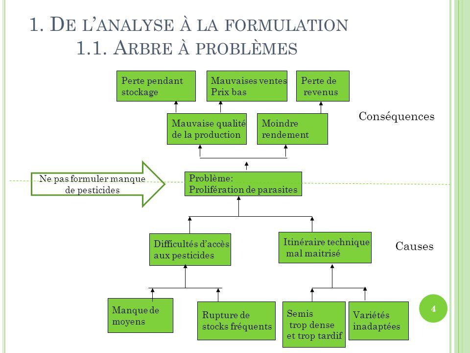 1. D E L ANALYSE À LA FORMULATION 1.1. A RBRE À PROBLÈMES 4 Problème: Prolifération de parasites Ne pas formuler manque de pesticides Mauvaise qualité