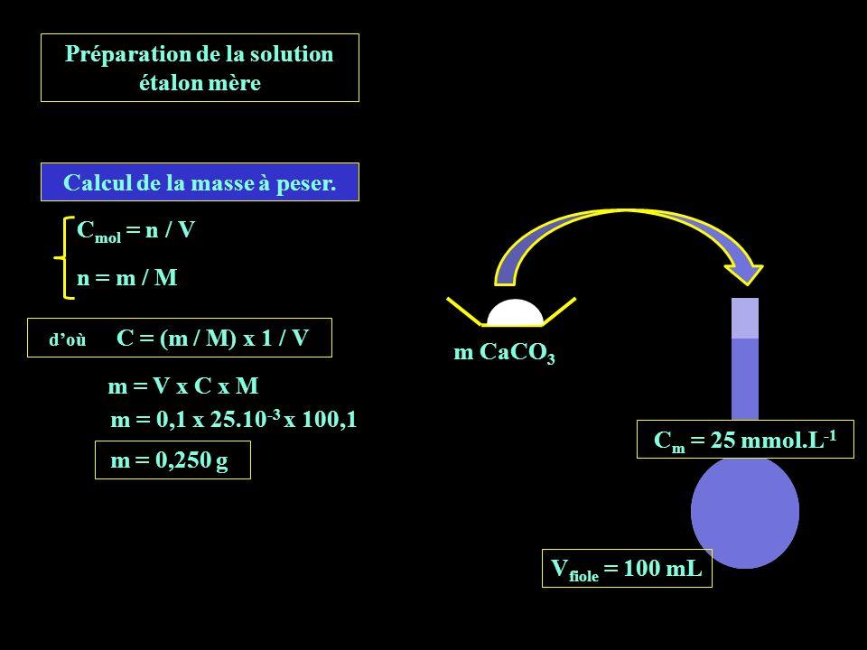 m = 0,1 x 25.10 -3 x 100,1 C mol = n / V n = m / M doù C = (m / M) x 1 / V m = V x C x M m = 0,250 g m CaCO 3 Préparation de la solution étalon mère V fiole = 100 mL C m = 25 mmol.L -1 Calcul de la masse à peser.