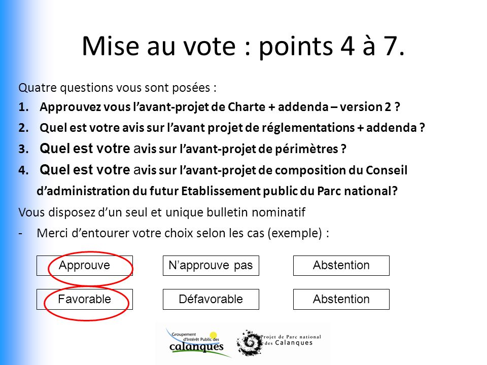 Mise au vote : points 4 à 7. Quatre questions vous sont posées : 1. Approuvez vous lavant-projet de Charte + addenda – version 2 ? 2. Quel est votre a