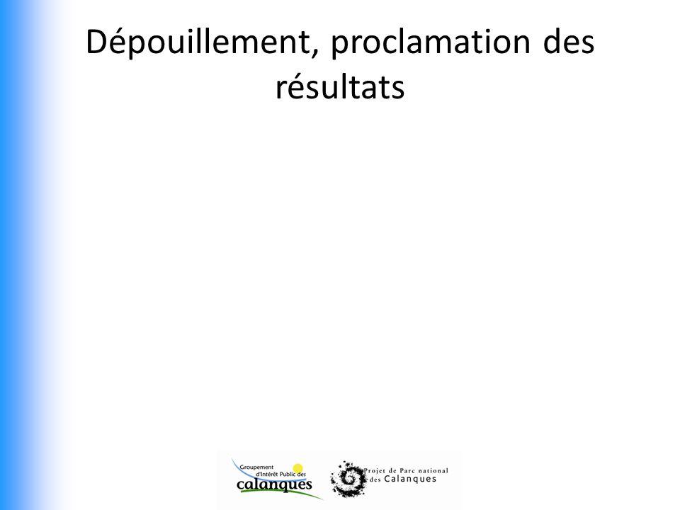 Dépouillement, proclamation des résultats