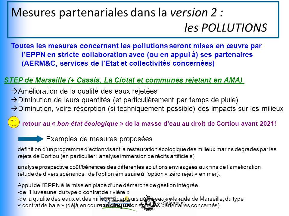 Mesures partenariales dans la version 2 : les POLLUTIONS Toutes les mesures concernant les pollutions seront mises en œuvre par lEPPN en stricte collaboration avec (ou en appui à) ses partenaires (AERM&C, services de lEtat et collectivités concernées) STEP de Marseille (+ Cassis, La Ciotat et communes rejetant en AMA) Amélioration de la qualité des eaux rejetées Diminution de leurs quantités (et particulièrement par temps de pluie) Diminution, voire résorption (si techniquement possible) des impacts sur les milieux retour au « bon état écologique » de la masse deau au droit de Cortiou avant 2021.