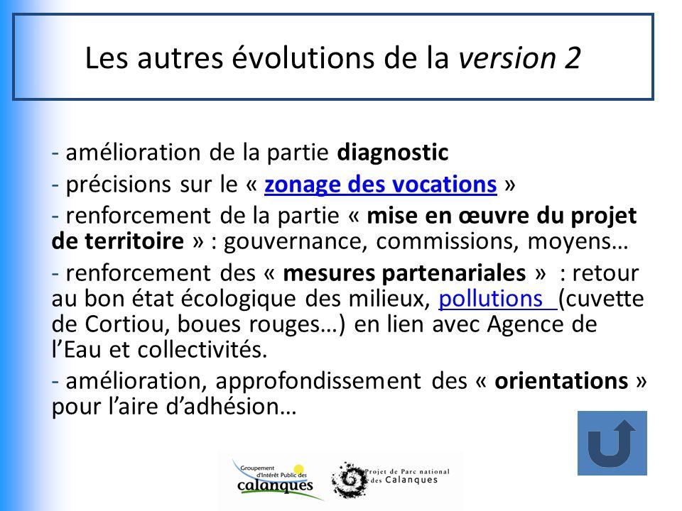Les autres évolutions de la version 2 - amélioration de la partie diagnostic - précisions sur le « zonage des vocations »zonage des vocations - renfor
