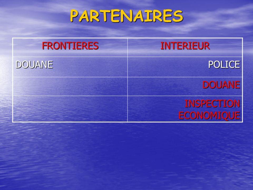 PARTENAIRES FRONTIERESINTERIEUR DOUANEPOLICE DOUANE INSPECTION ECONOMIQUE