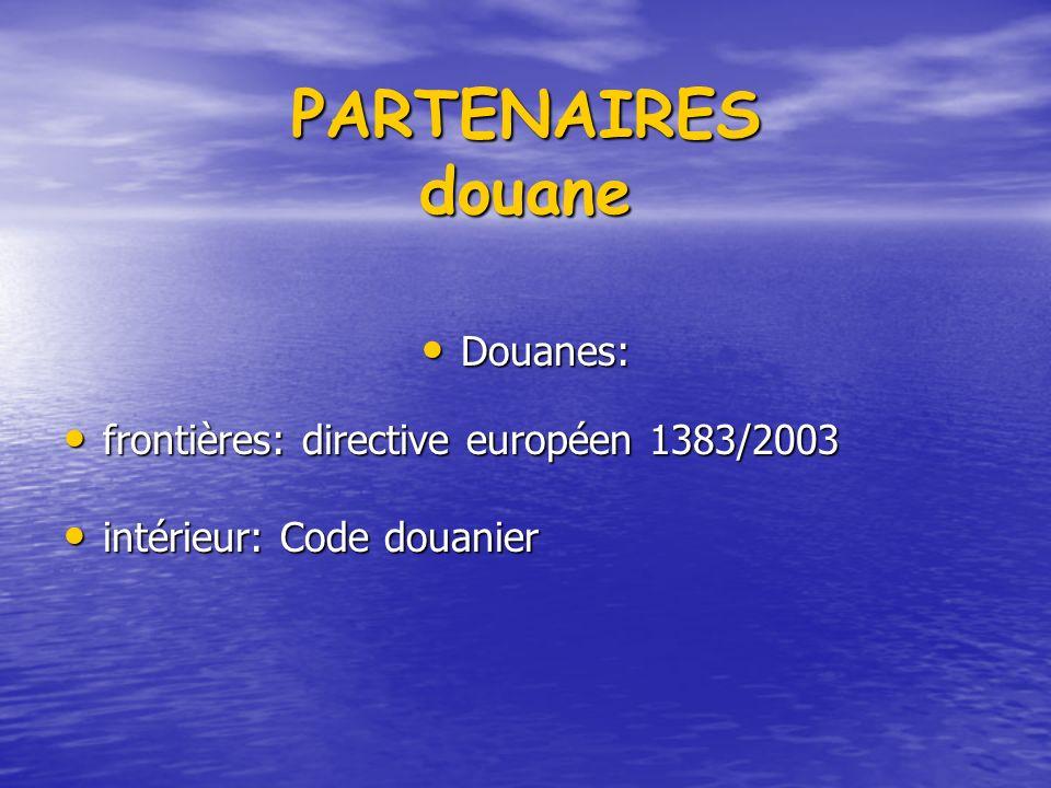 PARTENAIRES douane Douanes: Douanes: frontières: directive européen 1383/2003 frontières: directive européen 1383/2003 intérieur: Code douanier intérieur: Code douanier