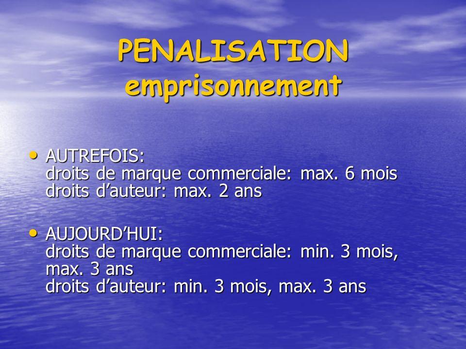 PENALISATION emprisonnement AUTREFOIS: droits de marque commerciale: max.