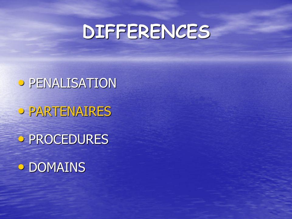 DIFFERENCES PENALISATION PENALISATION PARTENAIRES PARTENAIRES PROCEDURES PROCEDURES DOMAINS DOMAINS