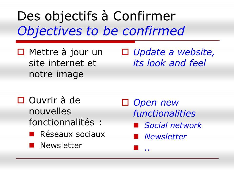 Des objectifs à Confirmer Objectives to be confirmed Mettre à jour un site internet et notre image Ouvrir à de nouvelles fonctionnalités : Réseaux soc