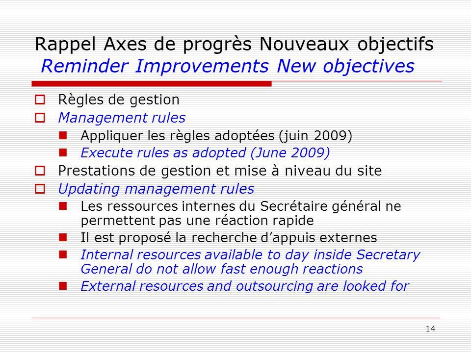 14 Rappel Axes de progrès Nouveaux objectifs Reminder Improvements New objectives Règles de gestion Management rules Appliquer les règles adoptées (ju